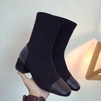 2019春秋圆头短靴女中跟时装靴显瘦百搭粗跟裸靴单靴欧美弹力靴子 黑色