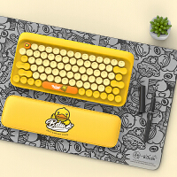 洛斐 小黄鸭 B.Duck DOT圆点蓝牙机械键盘 无线复古键盘 iPad苹果笔记本键盘 小黄鸭套装