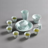 大山整套功夫茶具套装 田美青瓷套组12入 子母线三才盖碗 茶壶 品茗杯壶承
