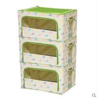 可爱小马印花衣物收纳箱可视钢架牛津布防水防霉储物箱3件