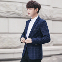 冬季新毛呢西服男士英伦修身韩版纯色短款西装外套