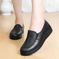 美美购【头层牛皮】妈妈鞋软底平底单鞋中老年女鞋大码奶奶鞋 807黑色