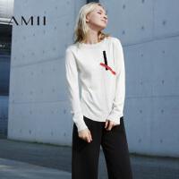 【1件8折/2件6折】AMII[极简主义]秋冬圆领套头撞色针织修身长袖女毛衣11682199