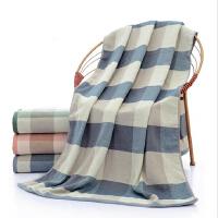 浴巾【支持礼品卡】纯棉强力吸水日系条纹纱布浴巾男女通用