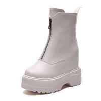 秋冬新品厚底网红纯色高帮马丁靴棉鞋女士单鞋内增高短靴防水台靴