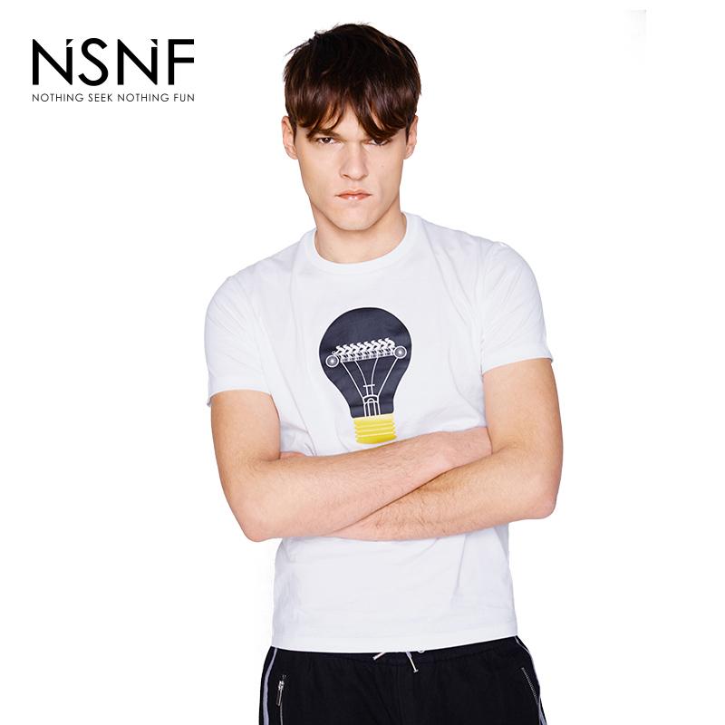 NSNF纯棉LOGO立体灯泡白色短袖T恤 2017年春夏新款 当当自营 高品质设计师潮牌