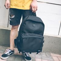 2018新款男士书包潮流街头韩版时尚大学生高中季黑色旅行双肩背包防泼水 黑色