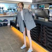 西装外套女2019秋流行韩版宽松百搭英伦风短款复古小西服 灰色