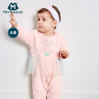 【满200减130】迷你巴拉巴拉婴儿印花连体衣秋新款童装女宝宝棉质拼接爬服