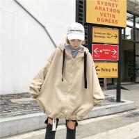 秋季开衫加绒连帽卫衣女韩版学生装上衣拉链宽松情侣长袖外套 M 建议80-110斤