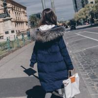 女韩版宽松2018新款学生中长款外套秋冬季加厚金丝绒连帽棉衣 深蓝色