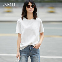 Amii[极简主义]2017夏装新款圆领几何拼接棉氨短袖T恤女11743128