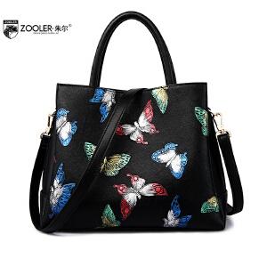 朱尔女包2017新款蝴蝶印花女士包包气质清新包包斜跨单肩手提包女夏