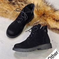 201909230249039782019新款韩版马丁靴女英伦风短靴百搭系带厚底粗跟裸靴绒面短靴女