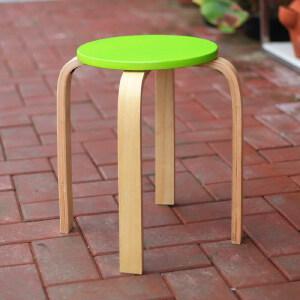 美达斯 实木弯角凳 木凳子 时尚休闲小圆凳 简约户外彩色凳 可叠加椅子