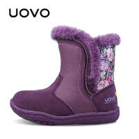 UOVO 新款秋冬保暖儿童雪地靴 女小女童保暖棉靴子 欧菲儿