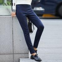 【到手价:64元】Amii[极简主义]秋装新款潮修身黑色松紧腰铅笔休闲长裤子女大码