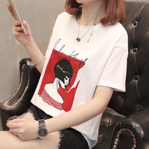 新款宽松个性印花人物图案简约时尚短袖T恤衫女