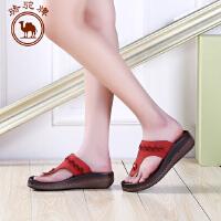 骆驼牌女鞋 夏季新品女士甜美 休闲拖鞋中跟人字拖女拖鞋子