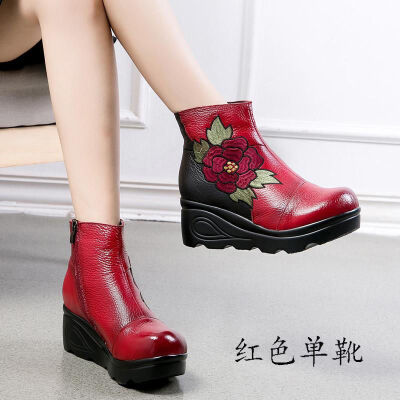 头层牛皮绣花短靴民族风女靴子防水台厚底松糕跟拼色棉靴新款