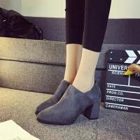 20190923012346438秋靴女2019新款高跟短靴女韩版百搭时尚后拉链粗跟靴子女短筒靴