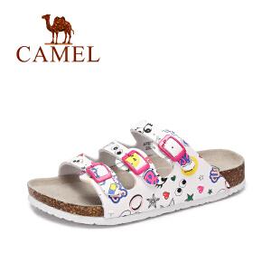 Camel/骆驼女鞋 夏季新款 休闲沙滩女拖鞋 多彩童趣耐磨拖鞋