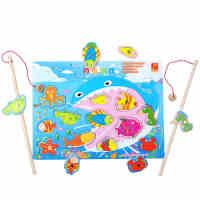 木制儿童小猫钓鱼玩具磁性双杆1-2-3周岁男孩女宝宝益智