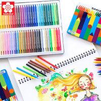 正品日本SAKURA樱花可擦塑料蜡笔24色48色进口初学者画笔炫彩油画棒套装小学生用画笔幼儿园儿童宝宝手绘12色