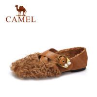 camel 骆驼女鞋 2017秋季新款 羊羔毛绒里平底单鞋 圆头浅口套脚休闲鞋