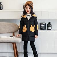 冬季新款女童小兔耳朵口袋撞色棉衣儿童中大童厚外套