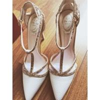 凉鞋女鞋2019新款尖头浅口高跟鞋细跟仙女风白色水钻婚鞋单鞋 白色
