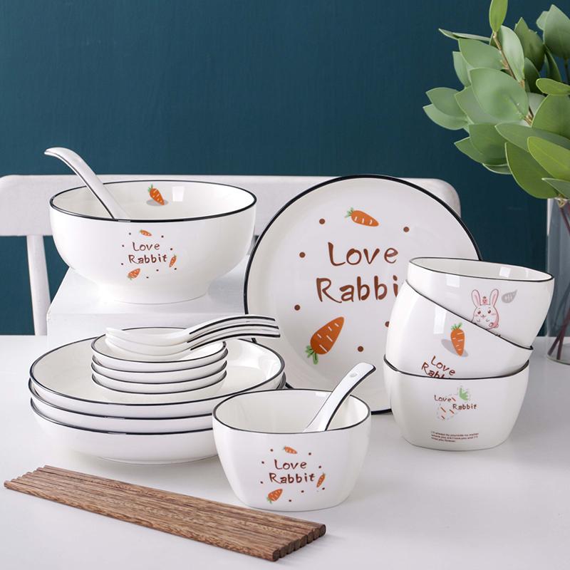 餐具套装 创意卡通可爱兔陶瓷餐具套装家用吃饭碗北欧风可微波炉烤箱米饭碗盘筷厨房用品 创意卡通可爱陶瓷餐具套装
