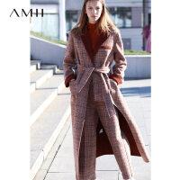 【5折价:990元/再叠优惠券】Amii极简时尚英伦潮格子羊毛双面呢女洋气冬新配腰带长款毛呢外套