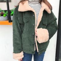 秋冬女装韩版宽松仿兔绒灯芯绒加绒加厚学生长袖休闲棉衣外套