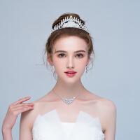 新娘皇冠头饰超仙结婚项链耳环三件套婚纱配饰
