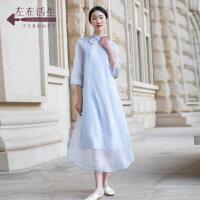 生活在左2019夏季新款女装手工盘扣桑蚕丝绣花旗袍真丝两件套装