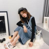 ins超火慵懒风长款毛衣裙子两件套女2018新款温柔风针织时尚套装 蓝-五天后发货(品质) 均码