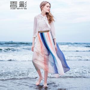 香影蕾丝拼接雪纺衫女 2017春装新款韩版时尚镂空系带领上衣百搭