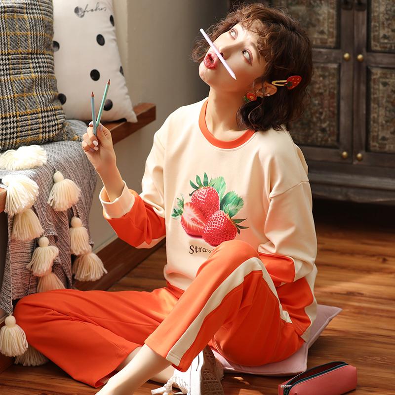 【NJR&秋冬新品】南极人家居服女士睡衣纯棉休闲宽松透气柔软舒适时尚长袖套装KH9011