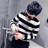 韩版圆领刺绣撞色毛衣男冬季修身长袖网红社会精神小伙打底针织衫