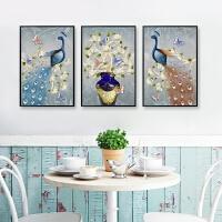 客厅卧室孔雀花瓶三联画满钻砖石秀古典花开富贵钻石画新款十字绣