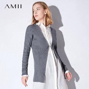 Amii[极简主义]2018秋装新款简洁立领两穿开衫毛衣外套女11722943