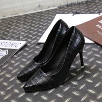 2019春秋新款细跟职业尖头单鞋中跟女士皮鞋工作鞋女黑色高跟鞋ol