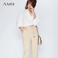 Amii[极简主义]2017夏新品性感V领气质灯笼袖雪纺衫 11761541