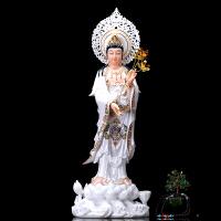 佛具用品汉白玉珐琅彩西方三圣摆件观音菩萨佛像供奉阿弥陀佛