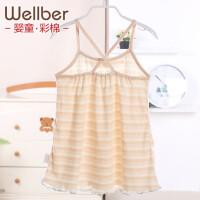 威尔贝鲁(WELLBER)女童夏季吊带连衣裙 宝宝彩棉公主裙婴儿裙子儿童背心裙