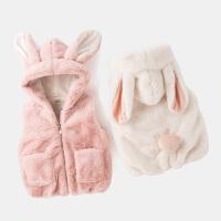 宝宝冬季毛绒马甲背心儿童加绒棉马夹连帽婴儿坎肩