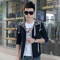 05272304338秋季新款外套男士连帽韩版运动夹克男青年学生薄款休闲衣服