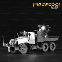 拼酷3D金属拼装模型立体拼图手工制作军事模型美军M35 防空卡车