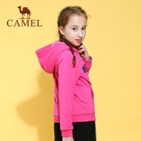 camel/骆驼童装秋冬儿童加厚连帽卫衣长毛绒内里拉链衫外套